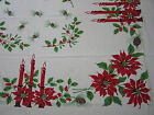 Colorful VTG Christmas Printed Tablecloth Poinsettias Candles Pine Cones Holly