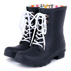 UK Brand Great Quality Shoelace Rain Boots Wellies Mid Calf Rain Boot Rainshoes