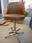 VTG Pair Mid Century Modern Brown Swivel Stools Bar 1978 ADMIRAL CHROME NOS