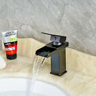 Oil Rubbed Bronze Waterfall Spout Bathroom Sink Vessel Vanity faucets One Handle