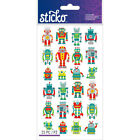 Scrapbooking Crafts Stickers Sticko Mini Robots Red Green Yellow Eyes Happy