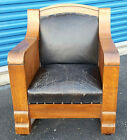 Vintage Antique Mid Century Modern Oak Wood Original Black Leather Rocking Chair