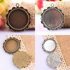 4X Bronze Tibetan Silver Round Picture Photo Frame Cabochon Charms Pendant Beads