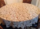 Vintage 70 Round White Lace Christmas Holiday Tablecloth Poly Blend Bells