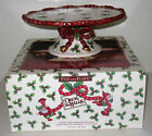 Vintage Fitz & Floyd Deck the Halls Ceramic Cake Stand Mint in Box