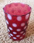 Vintage Fenton Cranberry Inverted Coin Dot Opalescent Tumbler Small Chip Rim
