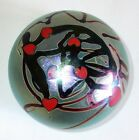Lundberg Art Glass Iridescent Hearts and Vines Paperweight 1973.