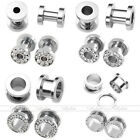 2Pair 6G 9 16 Stainless Steel Crystal Silver Ear Screw Plugs Tunnels Expander