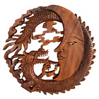 Dragon  Crescent Moon Wall Art Plaque Panel Hand Carved Balinese Wood carving