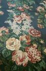 Vintage WAVERLY Remember When Cabbage Rose Cotton Sateen Fabric Blue 4yds+30in