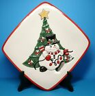 Fitz and Floyd Christmas Snowman Cheers Snack Plate. New in Box!  Snowman Decor