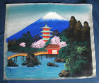 Vintage Japanese Hand Painted Silk Fabric Signed Painting Unframed 1953 Japan