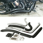 Exhaust Pipes +Heat Shield For Harley Softail Custom Fat Boy FLST Heritage FLSTC