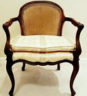 MID-CENTURY MAHOGANY CANE BACK CLUB CHAIR-Double Cushion, Neutral Striped *MINT*