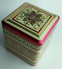 Vintage Tin Container Made in Holland/Hinged Lid/Embossed/Pink/White/Gold/Flower