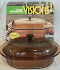 Visions Amber Casserole Roasting Glass Pan Oval Corning Ware Oven Microwave 4 QT