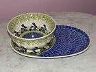 Genuine Hand Made Polish Pottery Large Lunch Set!  Cottontail Pattern!