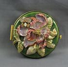 Jay Strongwater Round Double Compact Mirror Floral Butterfly