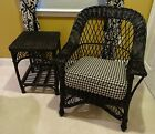 Designer Black Wicker Arm Chair and Table French Country MCM Occasional Side