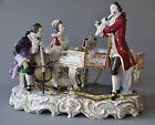 Rare Large Antique Lace Figurine Music Figure Group Volkstedt Dresden Germany