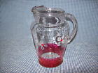 VINTAGE Gay Fad Red Accent Glass Juice Pitcher Mid Century Kitchenware Ice Lip