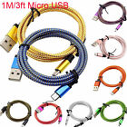 3FT Micro USB A to USB 20 B Braided DataSync Charger Cable For Android Phone