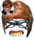 Austin Powers Fancy Dress 3 piece Kit Brown Wig Black Glasses + Bad Teeth