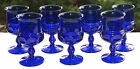 Indiana King's Crown Kings Crown Cobalt Blue Lot / 7 Wine Goblets 4oz