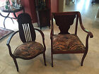 PAIR OF VINTAGE / ANTIQUE MAHOGANY ARM CHAIRS -WITH INLAY MOTHER OF PEARL