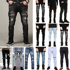 Fashion Mens Designed Straight Slim Fit Biker Jeans Denim Trousers Pants Skinny