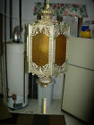 VINTAGE ORNATE BRASS COLORED METAL GOTHIC STYLE SWAG HANGING LIGHT