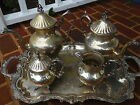 VINTAGE 25 LARGE FOOTED SERVING TRAY SET ORNATE SILVER ON COPPER CROWN + CROSS