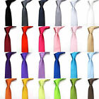 Mens Tie Fashion Solid Plain Colour Satin Formal wedding Party Casual Necktie