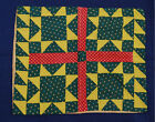 VIBRANT PRE CIVIL WAR Vintage Star Antique Quilt Pillowcase Sham ~COLORFUL!