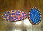 Lot of 2 Jacqueline Thompson Ceramic Serving Platters Red Blue Green Oval