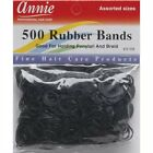 Annie 500 Rubber Bands Ponytail Holding Elastic Ring Black 3158 Assorted Sizes