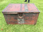 Antique ammo wood Chest trunk iron strong box Military Japanese foot locker WW2