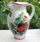 ITALIAN POTTERY PITCHER ~ HAND PAINTED RED ROSES ~ MARKED B 1354 ITALY ~ LOVELY