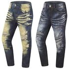 NEW Men Paint Splattered Denim Jeans Pants Vintage Gray Ripped Distressed Indigo
