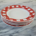 New Appetizer Set 4 Red Gingham Dessert Plates 222 Fifth HOME CUPBOARD Christmas
