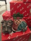 Fitz And Floyd Christmas Quilt Place Card Holders Lot Scotty Terrier Scottie Dog