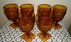 6 VINTAGE MID CENTURY INDIANA GLASS STEMWARE GOBLETS DIAMOND POINT DESIGN 1966