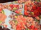APRIL CORNELL TEA TOWEL OVEN MITT POT HOLDER TURQUOISE CORAL FLORAL  COTTON  NWT