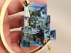 A BIG Symmetrical Purple Blue and Gold BISMUTH Crystal England w Stand 299gr e