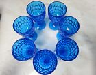 Vintage Fenton Colonial Blue Pressed Glass Thumbprint Water Goblet Set of 7