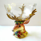 RARE Fitz and Floyd Holiday Leaves Collection Deer Display Fruit Bowl