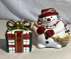 Fitz & Floyd Plaid Christmas Snowman & Christmas Gift Salt & Pepper Shakers