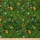 PEPPERMINT LANE Quilt Fabric Holiday Green Sue Zipkin 1/2 yd Clothworks 1192-25