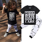 Toddler Kids Baby Girls Outfit Clothes T shirt Tops+Long Pants Trousers 2PCS Set
