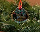 Hand Painted Wood Slice Christmas Ornament Red Fox Cabin Lodge Country Decor